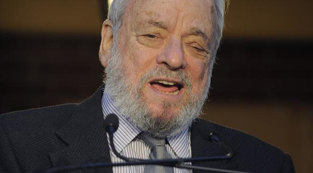 Stephen Sondheim before the lighting of the marquee of the Stephen Sondheim Theatre in Times Square (AP)