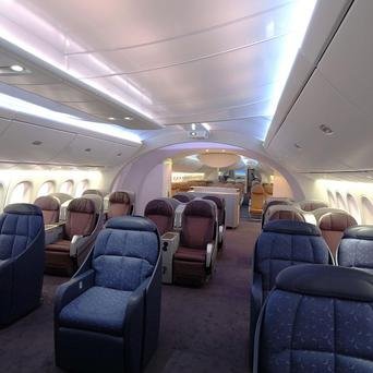 A mock up of the interior of a Boeing 787 Dreamliner