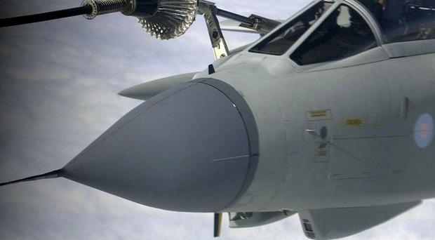 A Tornado aircraft is refueled by a VC10