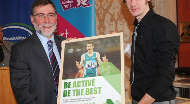 Michael McKillop with Sports Minister Nelson McCausland