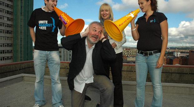 BMC students Alan Fenton and Eva Adam pictured with local comedian and Unite Against Hate Ambassador Tim McGarry and Belfast Metropolitan director and chief executive Marie-Thérèse McGivern