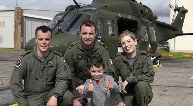 Six-year-old Conor Reidy meets the crew during a visit to the Air Corps in Baldonnel