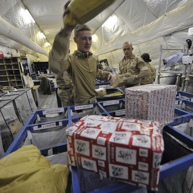 The public should not send unsolicited parcels to British troops, a minister said