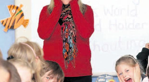 Annalisa Flanagan uses her impressive shout on her P4 pupils in Finaghy Primary School