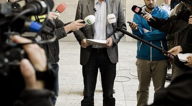 Investigator Svend Foldager talks to media in connection with an explosion in Copenhagen (AP)