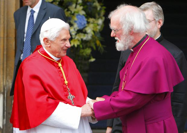 Pope Benedict XVI meets Archbishop of Canterbury Dr Rowan Williams at Lambeth Palace