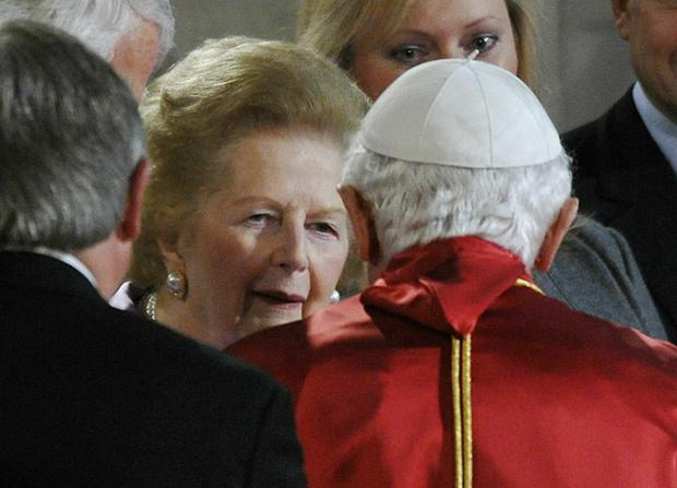 Pope Benedict XVI greets former British Prime Minister Baroness Thatcher in Westminster Hall
