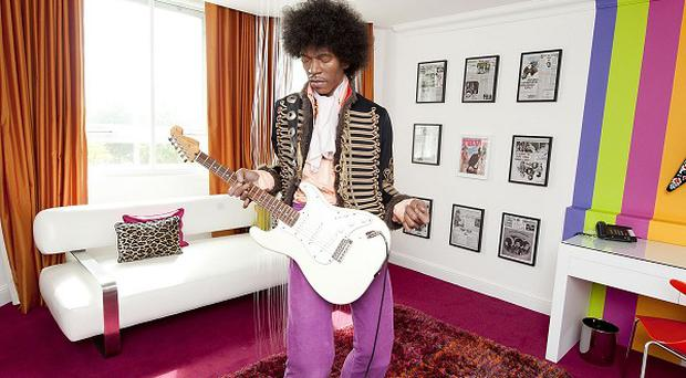 A wax figure of Jimi Hendrix on show in a suite at the Cumberland hotel in central London