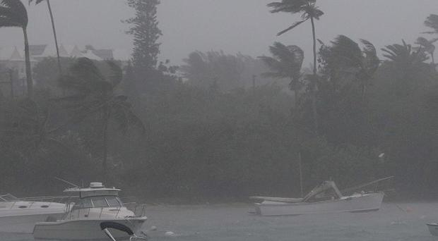 Wind and rain battered trees and boats in Mangrove Bay as Hurricane Igor closed in on Bermuda (AP)