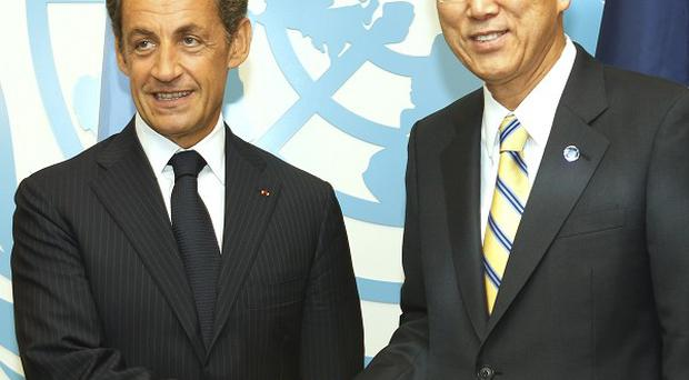 French president Nicolas Sarkozy has increased his country's commitment to tackling world poverty at a UN meeting (AP)
