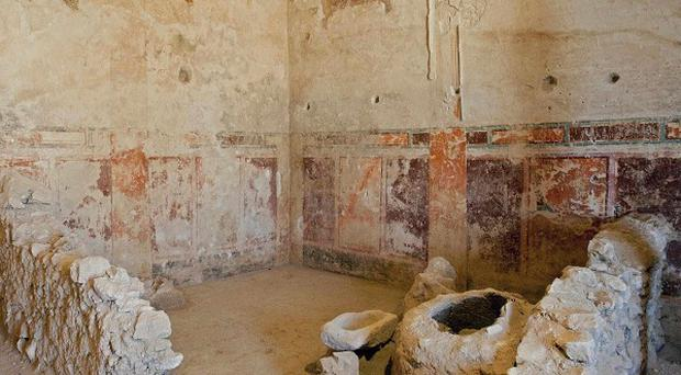 Frescos discovered in the Herodium complex, in the West Bank, south of Jerusalem (AP)