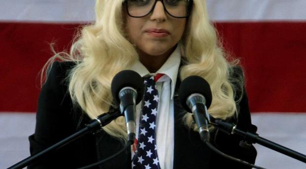 Lady Gaga at a rally in support of repealing the military's policy for gay service members in Portland, Maine (AP)
