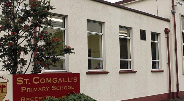 St Comgall's Primary in Antrim, where an eight-year-old boy found a pipe bomb in the playground
