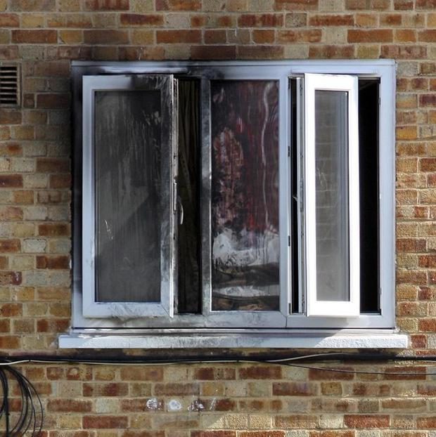 The scene in Arnould Avenue, Camberwell, following a fire at a first-floor flat which claimed the life of a child
