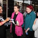 Belfast Telegraph reporter Victoria O'Hara talks to Rachel Shanks(17) and Zoe Gorman.
