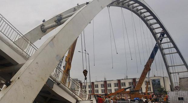 This bridge collapsed near Jawaharlal Nehru stadium in New Delhi, India