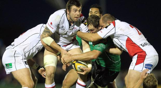 Magners League 25/9/2010Connacht vs UlsterConnacht's Michael Swift and Ryan Caldwell of UlsterMdandatory Credit ©INPHO/James Crombie *** Local Caption ***