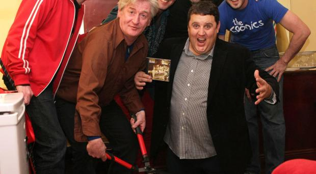 EMBARGOED TO 0001 SUNDAY 26 SEPTEMBER. Handout photo issued by Doublemono Ltd of The Saw Doctors with Peter Kay launching their album The Further Adventures. The comic surprised revellers in Dublin by playing an impromptu gig with the band. PRESS ASSOCIATION Photo. Picture date: Saturday September 25, 2010. See PA story SHOWBIZ Kay Ireland. Photo credit should read: Doublemono Ltd/PA Wire