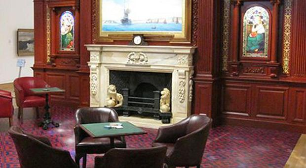 Recreation of a First Class Smoking Room on the Titanic