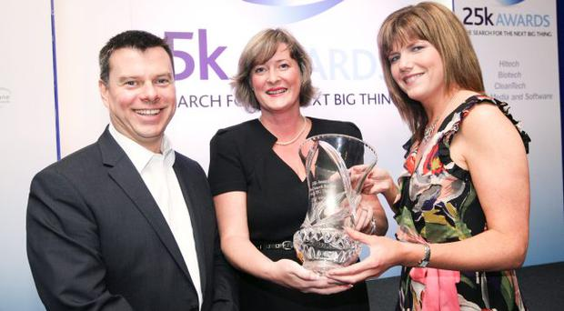 NISP Connect director, Steve Orr, and Clare Guinness, Bank of Ireland regional business manager,present Edel O'Neill of LenisAer (centre) with the top prize at the NISP Connect £25K awards