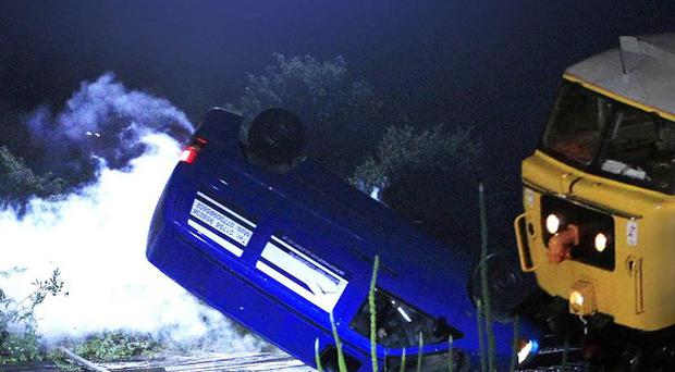 A train will hit a van in Emmerdale - leaving one character's life in the balance