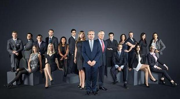 Lord Sugar pictured with this year's contestants