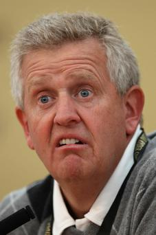 Europe Team Captain Colin Montgomerie answers questions from the media at a press conference following a practice round prior to the 2010 Ryder Cup at the Celtic Manor Resort on September 28, 2010 in Newport, Wales