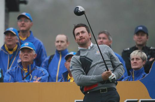 Graeme McDowell of Europe tees off during a practice round prior to the 2010 Ryder Cup at the Celtic Manor Resort on September 28, 2010 in Newport, Wales