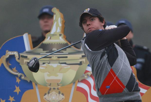 Rory McIlroy of Europe tees off during a practice round prior to the 2010 Ryder Cup at the Celtic Manor Resort on September 28, 2010 in Newport, Wales