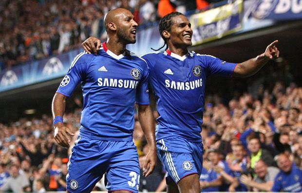 Chelsea's Nicolas Anelka celebrates scoring their second goal with team-mate Florent Malouda (right) during the UEFA Champions League, Group F match at Stamford Bridge, London. PRESS ASSOCIATION Photo. Picture date: Tuesday September 28, 2010