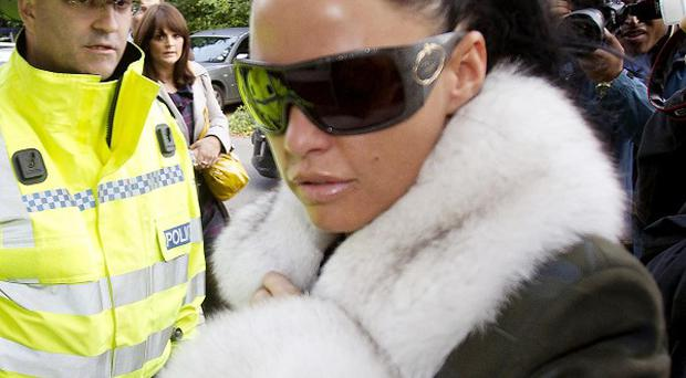 Model Katie Price arrives at Mid Sussex Magistrates' Court in Haywards Heath, Sussex