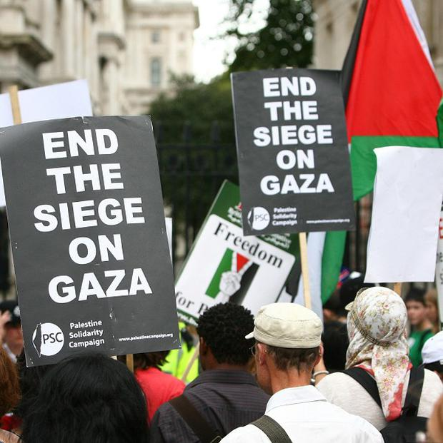 A protest calling for the end of the Gaza blockade outside Downing Street in London