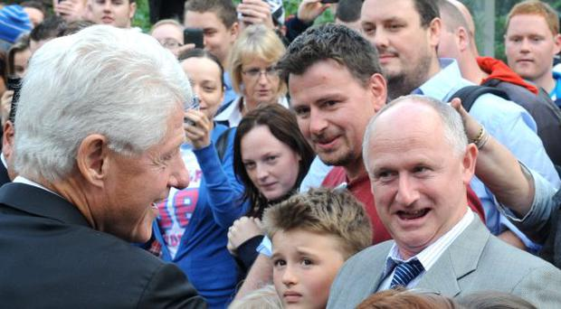 Bill Clinton meeting fans at Magee College in Londonderry. September 2010