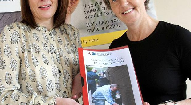 Susan Reid (left) and Cheryl Lamont during the launch of a revised strategy by the PBNI on the rights of victims of crime