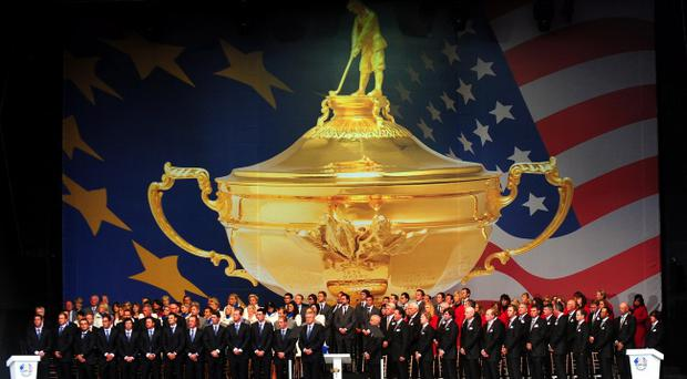Europe's and USA's teams during the Ryder Cup opening Ceremony at Celtic Manor, Newport