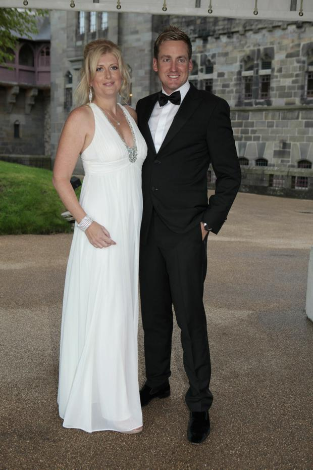 Ian Poulter and Katie Poulter attend the 2010 Ryder Cup Dinner at Cardiff Castle, on September 29, 2010 in Cardiff, Wales