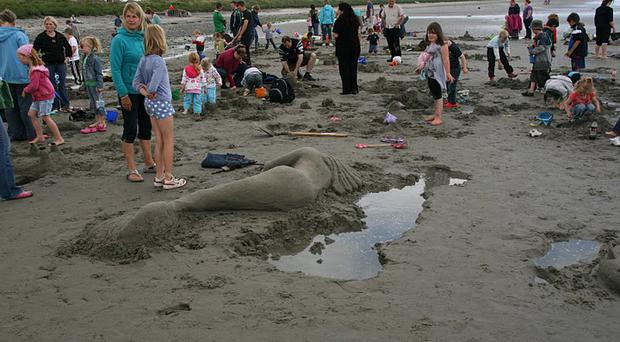 Cloughey beach was the venue for superb beach art last August A Dunn