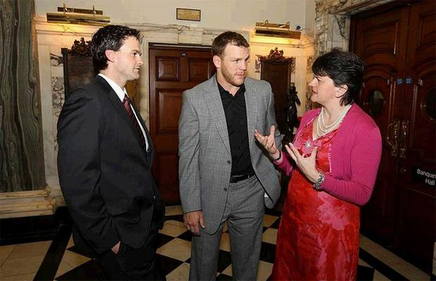 Boston Bruins star Shawn Thornton (centre) - whose mother is from Belfast - is welcomed to the city by Tourism Minister Arlene Foster (right) and Belfast Giants general manager Todd Kelman at an official reception in Belfast City Hall last night