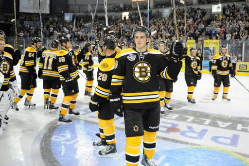 2/10/10: Tyler Seguin of the Boston Bruins celebrates after winning the man of the match against the Belfast Giants Selects in the NHL Premier Challenge game at the Odyssey Arena, Belfast. Picture: Michael Cooper