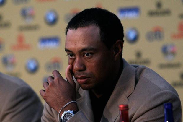 Tiger Woods of Team USA attends a press conference following Europe's 14.5 to 13.5 victory over the USA at the 2010 Ryder Cup at the Celtic Manor Resort on October 4, 2010 in Newport, Wales
