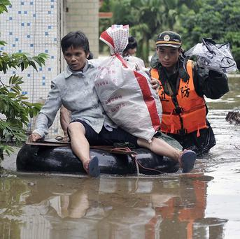 Around 130,000 villagers had to be evacuated in southern China due to flooding