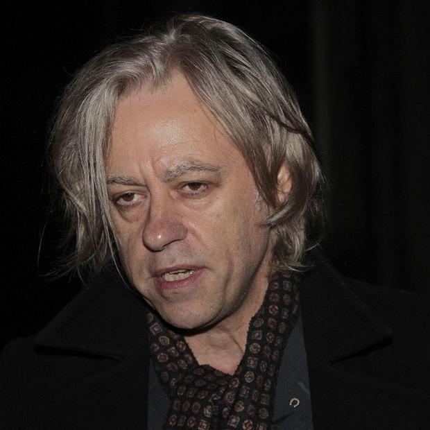 Sir Bob Geldof arrives at Trinity College, Dublin, for a Historical Society debate on development aid