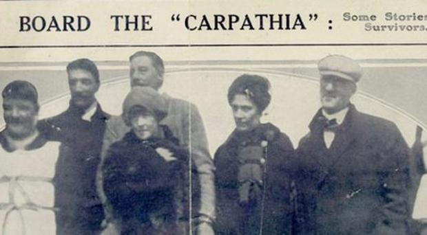 Undated handout picture of some of the survivors from the Titantic picked up by the Carpathia, including Laura Francatelli (back, second right) whose eyewitness account of the disaster has been published