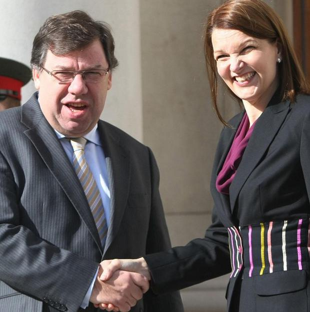 Taoiseach Brian Cowen greets Finnish Prime Minister Mari Kiviniemi at Government Buildings in Dublin