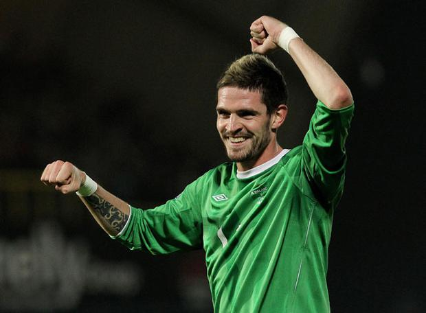 Kyle Lafferty celebrates on the final whistle