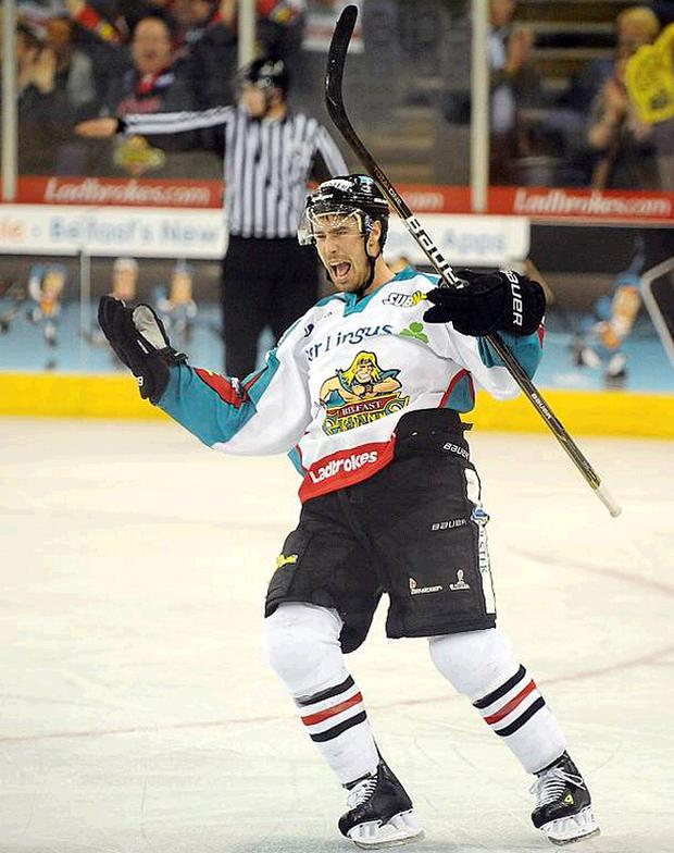 Colin Hemingway celebrates after scoring the Belfast Giants fifth goal in their 5-2 win over the Cardiff Devils on Saturday. He then recorded two assists in Sheffield last night