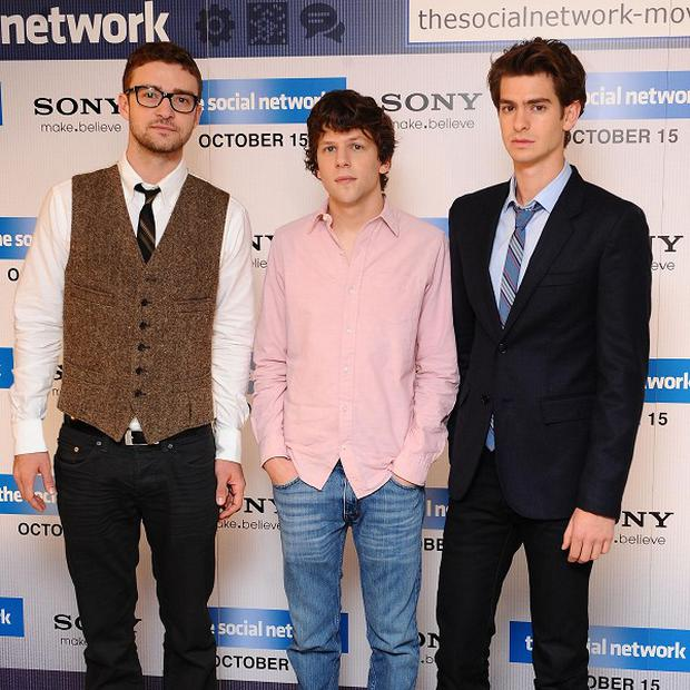 Justin Timberlake, Jesse Eisenberg and Andrew Garfield star in The Social Network