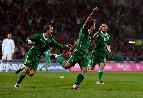 Republic of Ireland's Sean St Ledger (centre) celebrates his goal against Slovakia during the UEFA Euro 2012 Qualifying match at Stadion MSK, Zilina