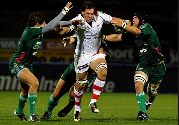 Ulster's South African back-row Pedrie Wannenburg in action against Aironi.Wannenburg has paid tribute to Rory Best and his other Ulster colleagues