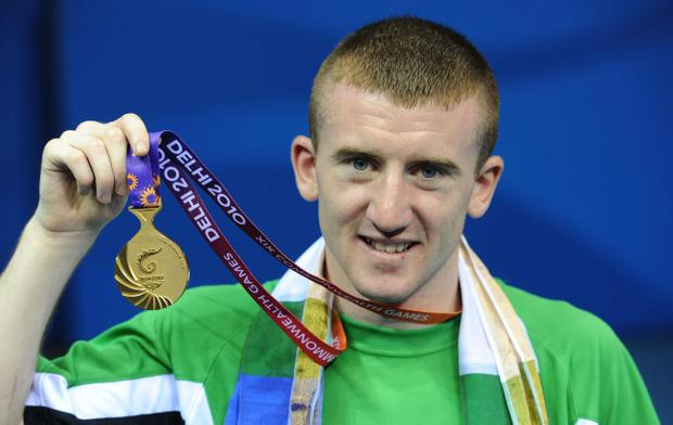 Northern Ireland's Paddy Barnes celebrates winning gold in the light fly weight final during Day Ten of the 2010 Commonwealth Games at the Talkatora Indoor Stadium in New Delhi, India. PRESS ASSOCIATION Photo. Picture date: Wednesday October 13, 2010. See PA Story COMMONWEALTH Boxing. Photo credit should read: Anthony Devlin/PA Wire. RESTRICTIONS: Use subject to restrictions. Editorial use only. No commercial use. Call +44 (0)1158 447447 for further information.